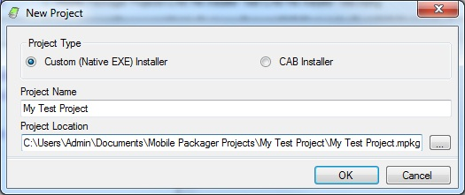 Mobile Packager New Project Window